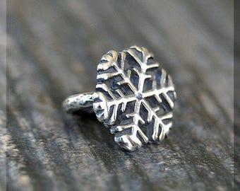 Sterling Silver European Style Snowflake Charm, Handmade Slide Charm, Personalized BHB Winter Charm, Big Hole Bead, Fantasy Slider Charm