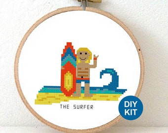 Surfer Cross Stitch Kit. DIY decoration for beach cabin. Female and male surfers with surfing board. Sea themed decor. Summer holiday gift