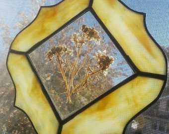 Vintage stained glass suncatcher with dried flowers