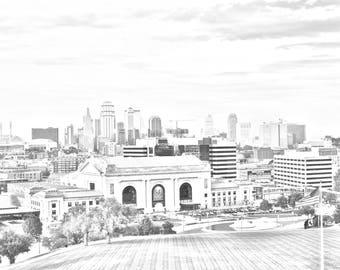 Kansas City Skyline charcoal (32 x 14 Instant Download)