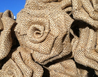 Burlap Roses Three Sizes to Choose From