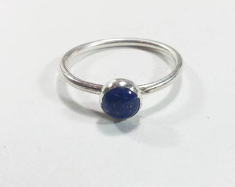 Sterling Silver Stacking Ring with 6mm Lapis Lazuli, Lapis Ring, silver stacking ring, silver ring, handmade stacking ring