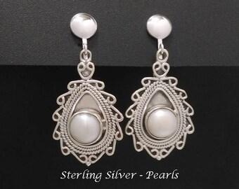Clip On Earrings: Beautiful Pearls set in Stunning 925 Sterling Silver Clip-On Earrings | Pearl Clip On Earrings, Clip On Earrings 240