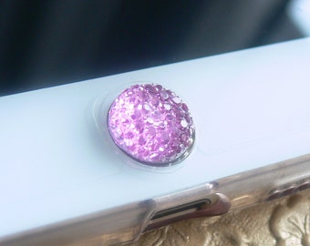 Embossed iPhone Home Button, iPhone Charm Sticker, iPhone iPad accessories -  Pink, Purple, Crystal White