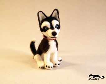Needle Felted Husky Toy Gift Dog Animal Felted Decoration