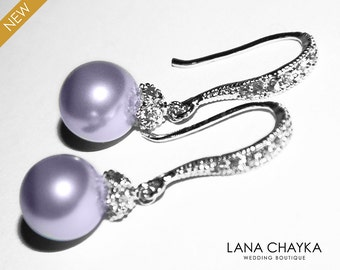 Lavender Pearl Drop Earrings Lilac Pearl Small Earrings Swarovski 8mm Pearl Sterling Silver CZ Wedding Earrings Lavender Pearl Prom Jewelry