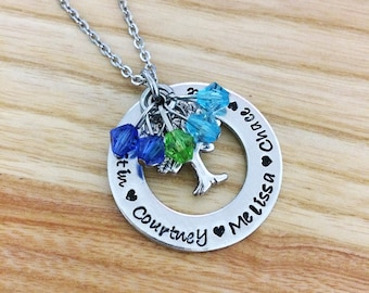Grandma Jewelry - Gifts for Grandma - Family Tree Necklace - Mothers Day Gift for Grandma Mimi Meme Memaw Nana - Hand stamped Necklace