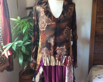 Brown Gypsy Tunic, bohemian blouse, brown fabric, long sleeves, womens upcycled altered clothing, refashioned black lace MEDIUM