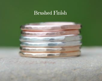 THICK STACKING RINGS ~ Rose Gold, Gold, and Sterling Silver Hammered Stacking Rings - stacking rings - modern minimalist jewelry