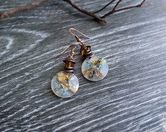 "Earrings ""Forget-Me-Nots"" with real pressed flowers in resin"