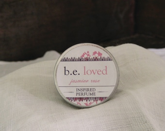Perfume Balm, Jasmine Rose, Vegan Solid Perfume, b.e. loved