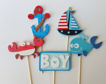 High Quality Nautical Diaper Cake Toppers, Ahoy Itu0027s A Boy Decor, Baby Shower ...