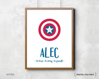Captain America Wall Art, Superhero Print Poster, Superhero Bedroom Decor, DC Comics Marvel, Nursery, Kids Bedroom Decor, Wall Prints