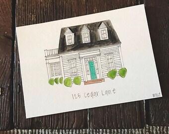 Custom house illustration-5x7 watercolor + ink