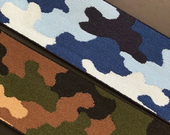 Blue and green camouflage camo military woven jacquard embroidered ribbon trim 38mm 1.5 inches wide free domestic shipping