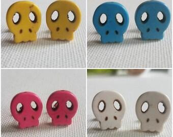 Flat stone skull earrings   multiple colors available