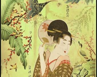 ZNE- The Geisha - Digital Collage 5 x 5 - Art by ruby