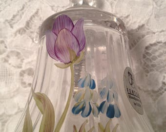 Sweet Little Fenton Bell with Ruffled Base and Hand Painted Spring Flowers, Purple Tulip and Bluebell Flowers, Signed by Artist.