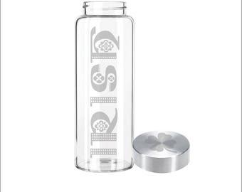 """Etched 33oz Large Glass Bottle - """"IRISH"""" & Custom Lid"""