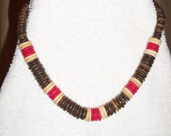 Old Wood Bead Necklace Red's, Brown's, & Cream Vintage Costume Jewelry Wood Bead Necklace