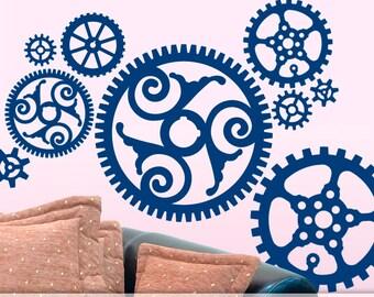 Wall Decals, Vinyl Decals, Vinyl Wall Decals: Large Steampunk Gears, Wall Pattern Decals