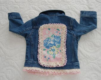 18 Month Recycled Baby's Jean Jacket with vintage embellishment