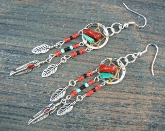 red coral and turquoise dreamcatcher earrings turquoise RED in  tribal boho hippie belly dancer and hipster style