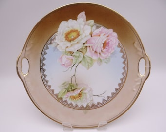 Vintage Hand Painted White and Pink Roses German Serving or Cake Plate  - Quite lovely