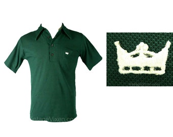Men's Small 1960s Emerald Polo Shirt with Crown Logo - Mens Preppy 60s Short Sleeved Green Summer Top - Preppie - Chest 37 - 40682-1
