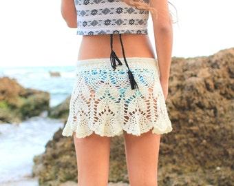 Beach skirt cover-up Hippie skirt knit Crochet summer skirt Festival clothing