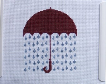 Raining Umbrella Cross-Stitch Pattern