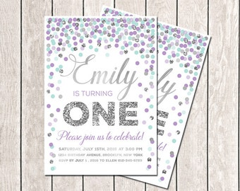 Girl Birthday Invitation First Birthday Invitation Purple Aqua Gray Confetti Invitation Printable Birthday Invitation Lavender Aqua Silver