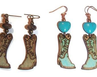 Cowgirl Boots Earrings Laser Cut Wood Cowgirl Boot Earrings Whimsical Western Fun Earrings E109 E110