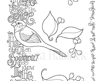 Psalm 23 coloring page in three sizes: 8.5X11 8X10 suitable