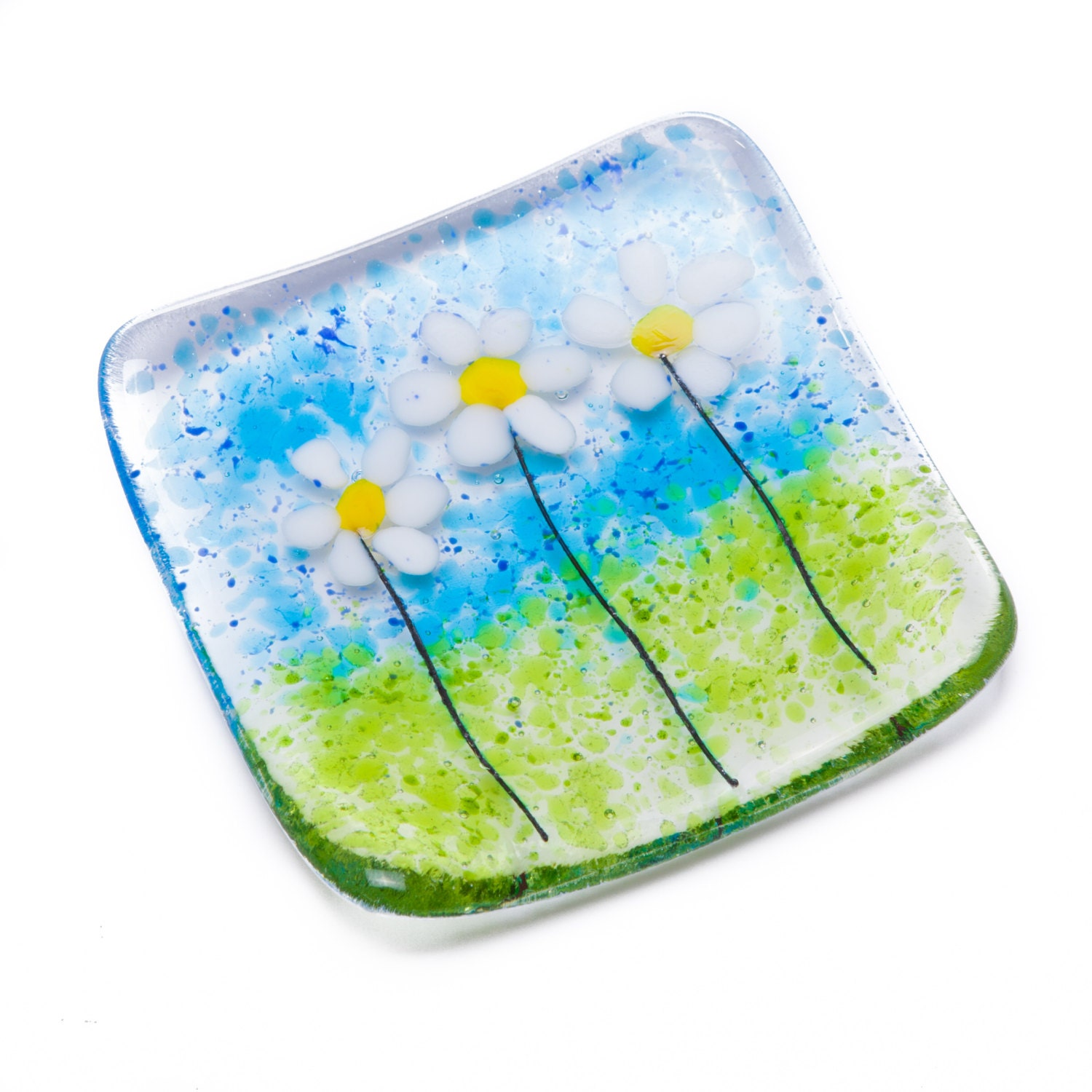 White daisies dish fused glass art daisy bowl trinket tealight