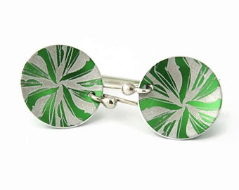 Green Earrings, Anodized Aluminum Disc Earrings, Stylized Pinwheel Pattern, Argentium Silver Earwires, Handmade