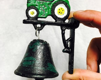 Outdoor Bell dinner bells Cast Iron Tractor John Deere farm gift for him country gift country decor farm decor tractor decor Father's Day