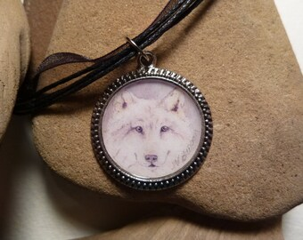 White Wolf Necklace Handmade with Watercolor Art Print in a Pendant