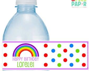 Rainbow Party Bottle Labels