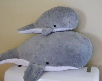 Mom & Baby Sperm Whale Set light grey plush