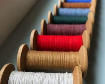 Single Blonde Spool  - Blonde 2 Inch Wooden Bobbins with brightly colored thread - Rustic Valentine DIY Home Studio Decor
