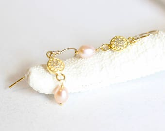 Delicate Pearl Diamond Pave Earrings, Yellow Gold, Diamond Pave Earrings, Small Dangle Diamond 14 kt Gold Fill Earring