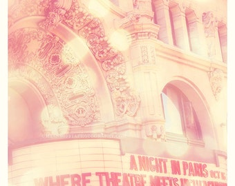 Million Dollar Theatre, downtown LA, architecture photograph, Los Angeles, Broadway, urban pink, city print, photography, girls room decor