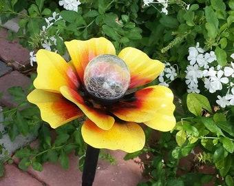 Metal Flower Solar Light,  Metal Garden Art,  Metal Art, Garden Decor, Flower Garden Stake