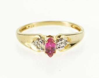10K Marquise Ruby*Diamond Cluster Accented Ring Size 7 Yellow Gold