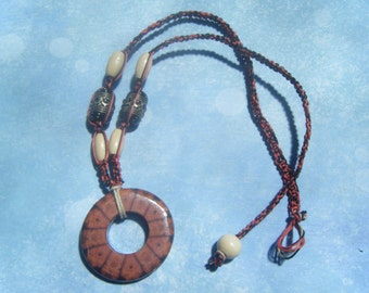 Hemp Necklace with Wood Focal Pendant