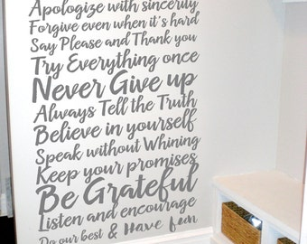 House Rules Decal - Living Room Decal - House Rules Sign - Vinyl Wall Decal - Wall Decal Family - In This House We Do Decal - Family Decal