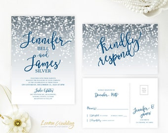 Gray and blue wedding invitation printed on shimmer card stock | Affordable wedding invitation sets