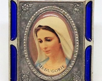 Our Lady of Medugorje Blessed Virgin Mary, Enameled Medugorje Shrine, Navy Blue Enameled Medugorje on Stand