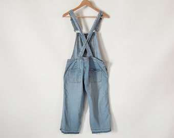 Women's Bib Overalls Dungarees Cropped Overalls  Faded Weathered Petite Size Small Crisscross Strap Design